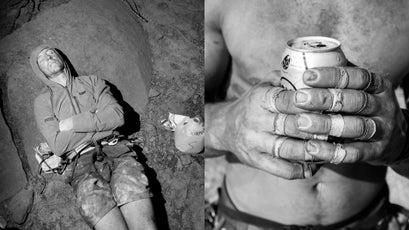 Cody Scarpella napping (L); Worn fingers (R)