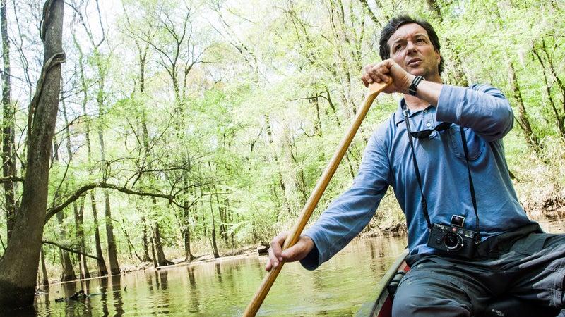 Paddling the Cedar Creek canoe trail in Congaree National Park, South Carolina.