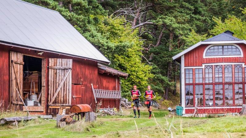 Running past Swedish farms during the Otillo Swimrun World Championship