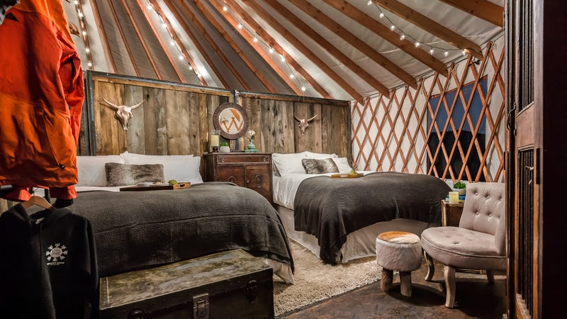 One of the cozy backcountry yurts at Whisper Ridge.