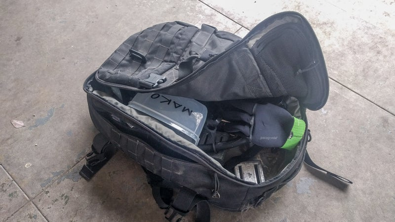It's currently carrying my freediving gear, but you get the idea. This Maxpedition bag will swallow anything yet still fits under an airplane seat.