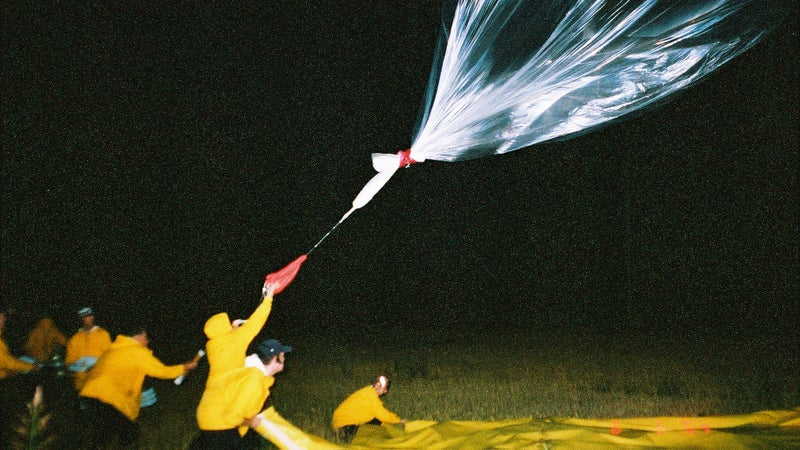 A 30-foot balloon is launched during storms to gather data on lightning.
