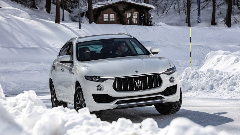 The Levante is sure-footed on ice, at least when fitted with the studless winter Pirellis our tester was wearing. While AWD can help improve acceleration on slippery surfaces, it can't help a car turn or slow down. Please, put winter tires on your car if you're driving in an area with winter weather.