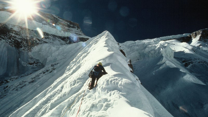 Climbing the undulating crest of the Dutch Rib, the team faced soft, unstable snow and huge cornices.