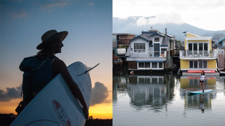 Whether you're looking to surf waves near the city (left) or a mellower SUP session somewhere like Sausalito (right), the Bay Area has tons of options.