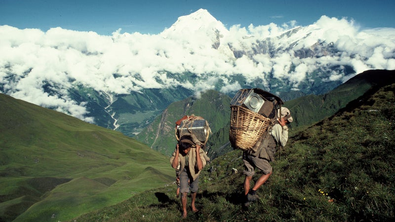 Porters on the ten-day trek from Pokhara to base camp