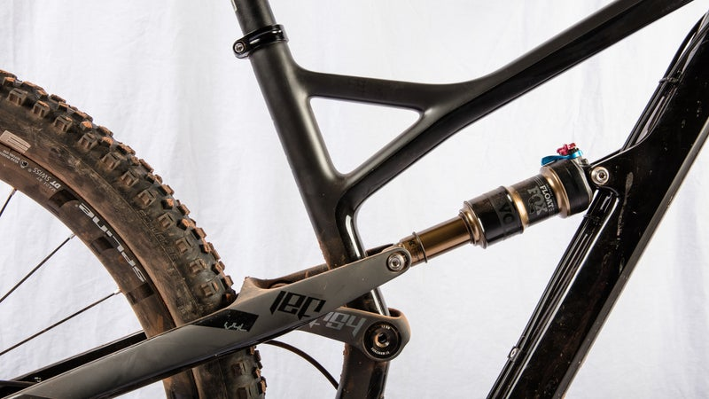 A close-up look at the four-bar Horst Link suspension.