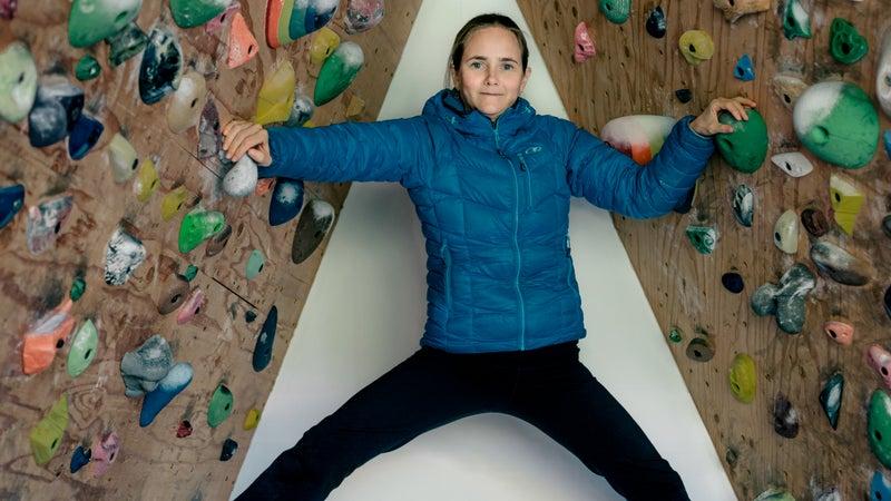 Her home climbing wall.