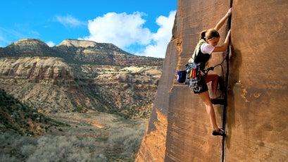 Beth Rodden climbing at Indian Creek, Utah, 2000.