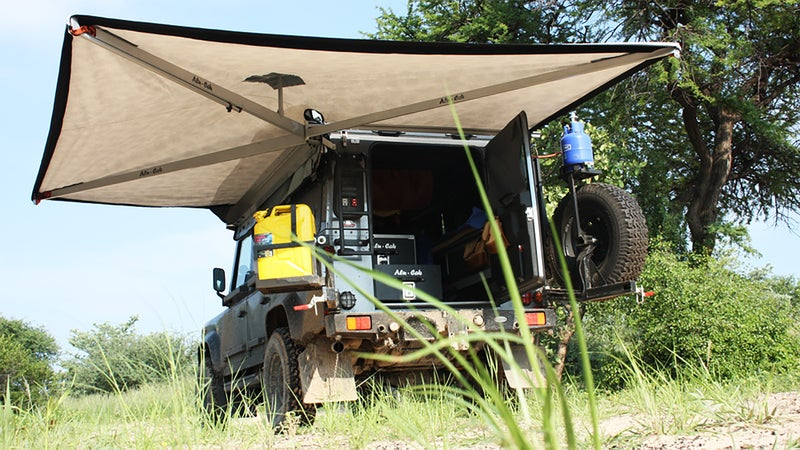 Vehicle-mounted awnings are easy to carry, quick to setup, and extremely stable. If you use your tailgate as a kitchen, they're an ideal shelter from sun and rain.