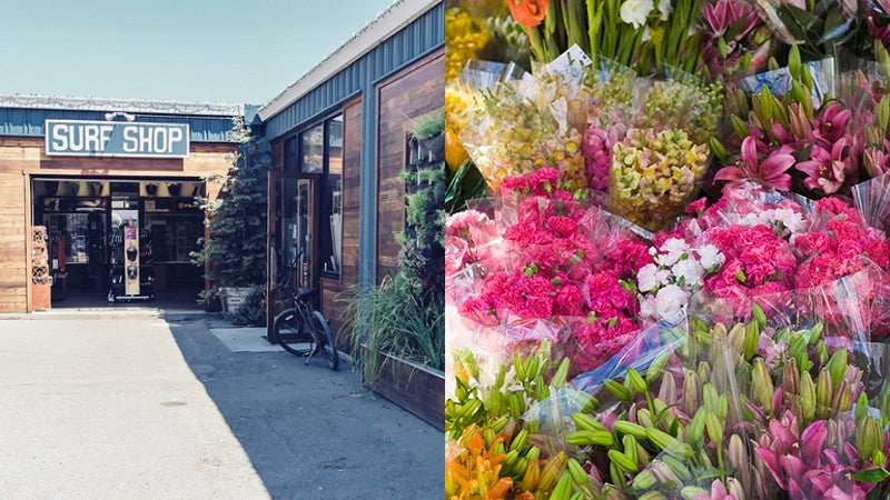 Proof Lab Surf Shop (left) and San Francisco Flower Mart (right) are two of the best-kept secrets for local shopping.
