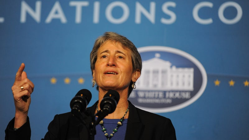 Jewell speaking at the 2013 White House Tribal Nations Conference.