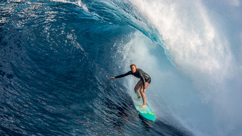 Alms in the barrel at Jaws.