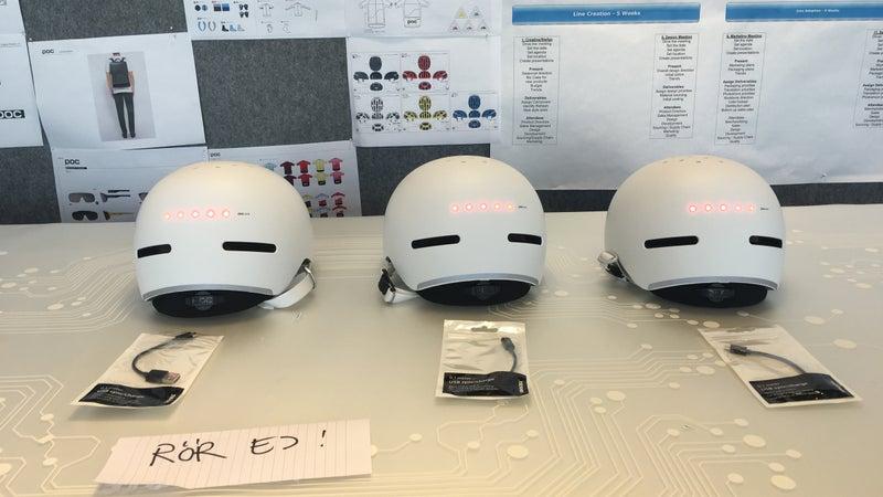 Prototypes of the Corpora commuter helmet.