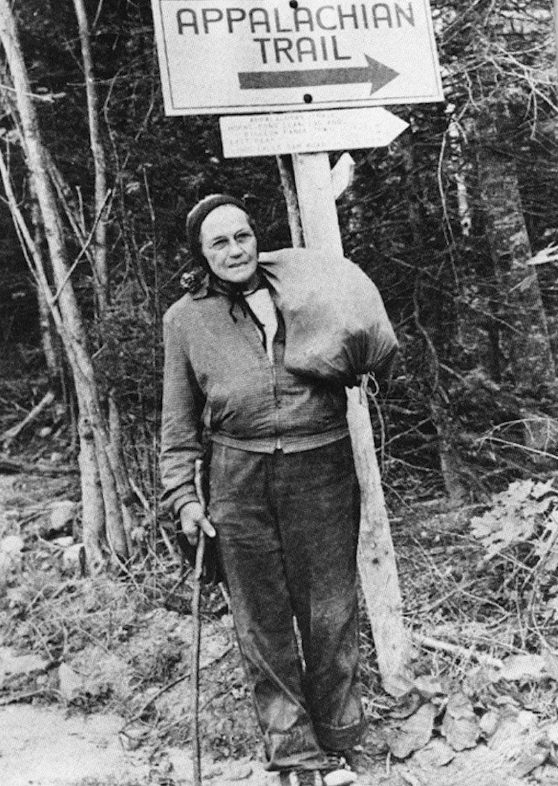 Grandma Gatewood hiking the Appalachian Trail