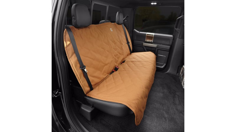 Carhartt Dog back-seat cover, to keep the hair and scratchy claws off your leather.