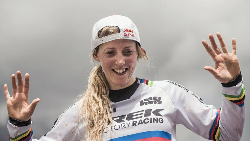 Rachel celebrates her tenth win at the UCI Mountain Bike World Tour.