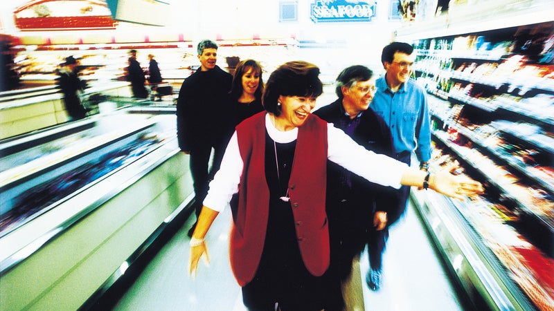 Burke (far right) tagging along with nutritionist Jackie Berning during Tour de Safeway.