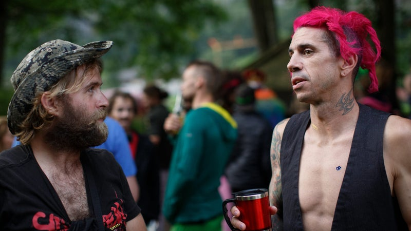 """Mitch Doucet (left) and Chris """"Douggs"""" McDougall enjoy a Swiss Day party."""