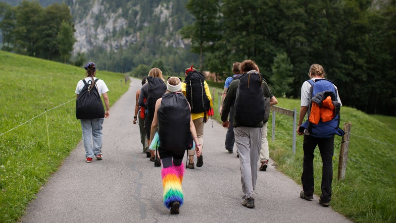 The crew reconvenes in the valley after jumping the High Nose on Swiss Day 2016.