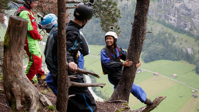 Kat Donahue prepares to jump at the La Mousse exit point in Lauterbrunnen Valley.