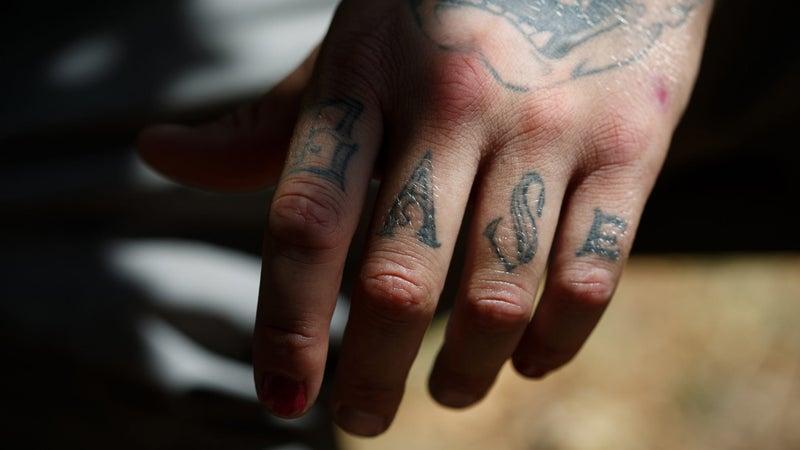Alex Edbom's knuckle tattoo.