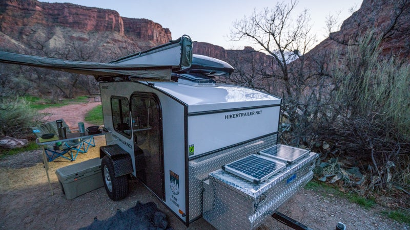 The trailer we tested included solar panels, as well as a Rhino Rack Foxwing 270-degree Awning and Zenith cargo box attached.