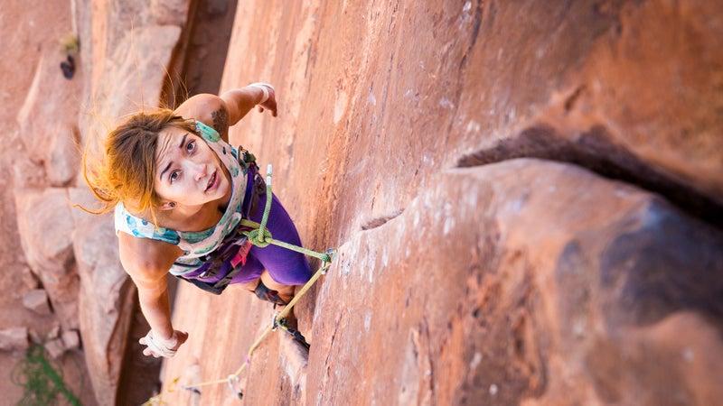Mercadi Carlson (@mersendyclimberson) on Miss Kitty Likes It That Way, a 5.11+ climb in Moab, Utah.