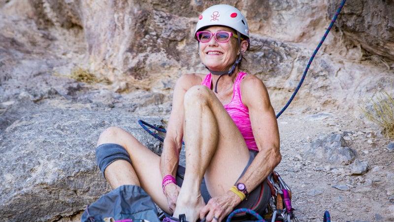 Diane Wilson gears up to climb in Las Vegas.
