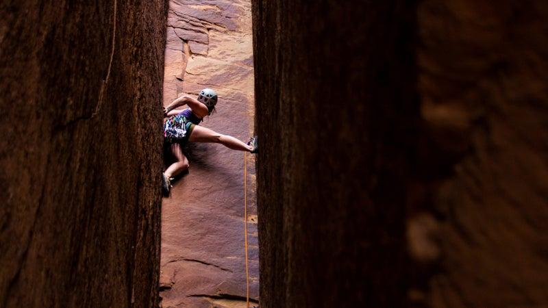 Grace Marie Larson (@glarzzz) climbs the Mystery Machine, a 5.10+ in Indian Creek, Utah.