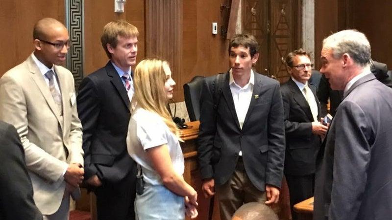 Kai Lightner, Sasha DiGiulian, and Alex Honnold speak with Senator Tim Kaine.