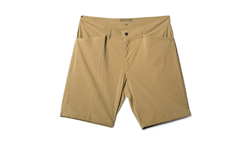 It can be hard to find a good pair of athletic shorts that functions away from the gym. These have great pockets, solid belt loops, and look as good at a barbecue as they do on the trail. Bonus: you can securely clip a knife in the side pockets.