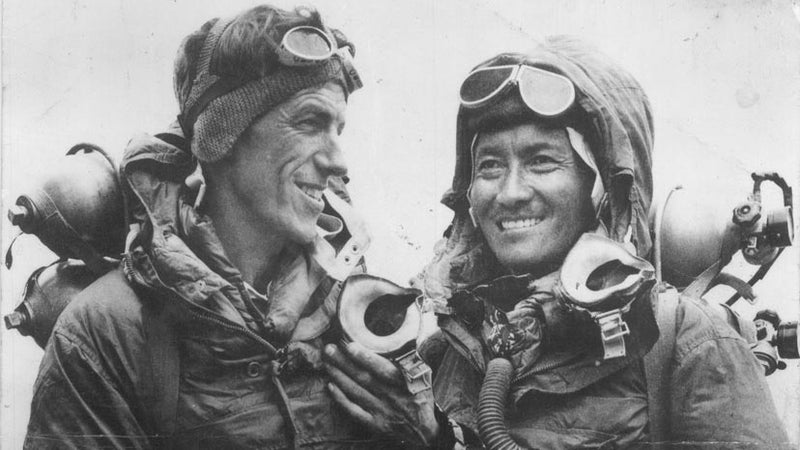 Tenzing Norgay with Edmund Hillary after making the first ascent of Mount Everest in 1953.