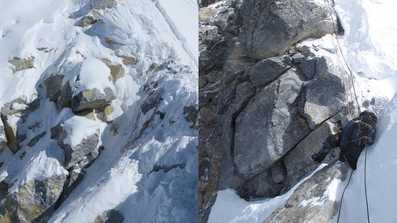 A comparison of Hillary Step in 2016 (left) versus in 2014 (right) shows how snowfall has made it difficult to know for sure whether or not the peak remains intact.