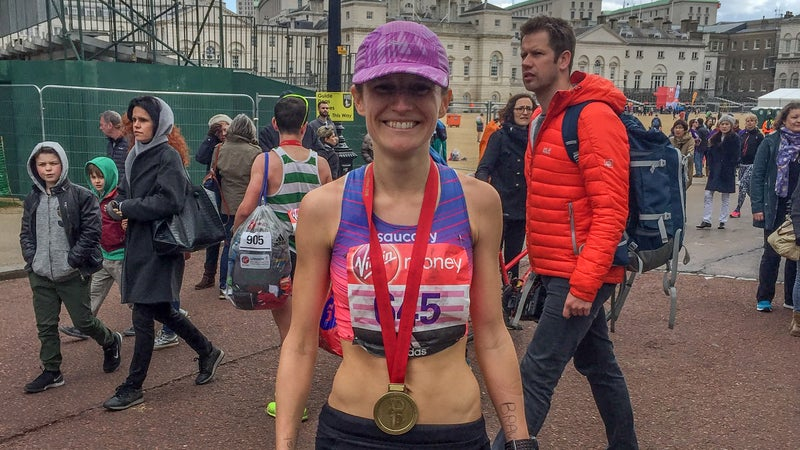 Muir after setting a new personal record at the London Marathon.