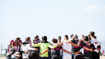 A post-match group hug