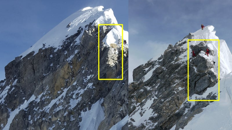 Left: The Hillary Step in 2017. Right: The Hillary Step in 2011.