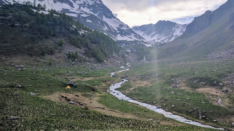 Not a bad campsite, right? Saw ibex, red deer, marmots, and eagles, but not a single human.
