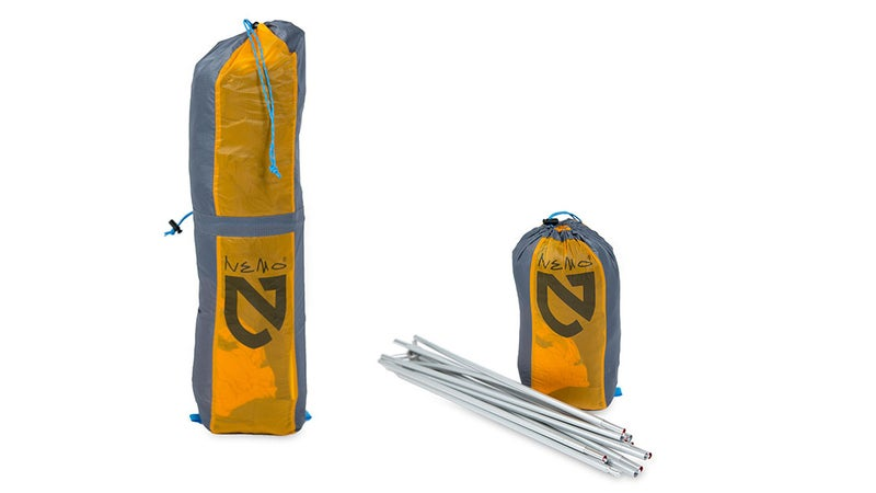 The stuffsack cinches in two places, allowing you to compress the tent whether you want to carry it with the poles or not. Without, the tent package is just the size of a grapefruit.