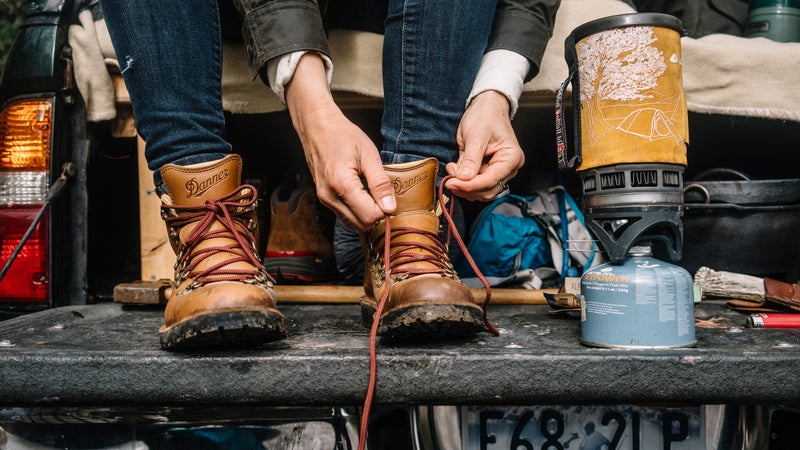 Prepping for adventure with Danner boots.
