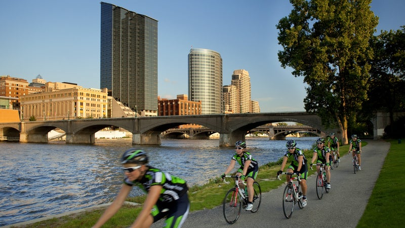 The Grand River Edges trail is a popular trail along the downtown stretch of the Grand River.
