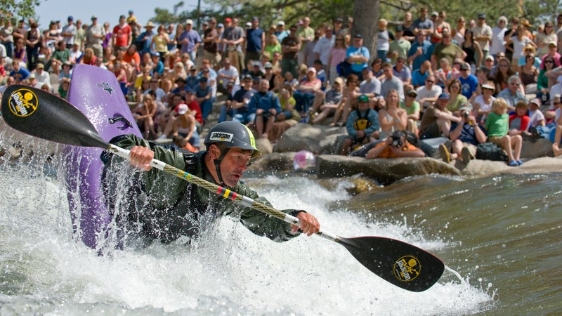 Eric Jackson competes at the Reno Riverfestival held along the Truckee River in the center of town.