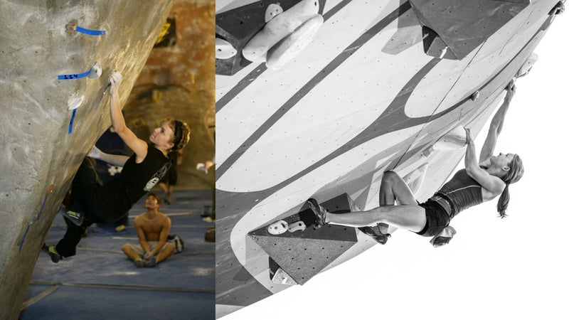 Angie Payne competing in the 2004 American Bouldering Series National Championships (left); Payne at the 2015 PsicoComp Deep Water Soloing Competition in Park City, Utah.