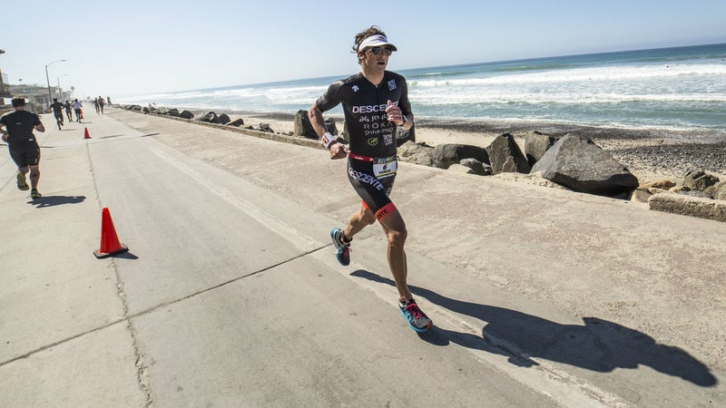 Jesse Thomas competes at the 2016 Iron Man 70.3 in Oceanside, California.