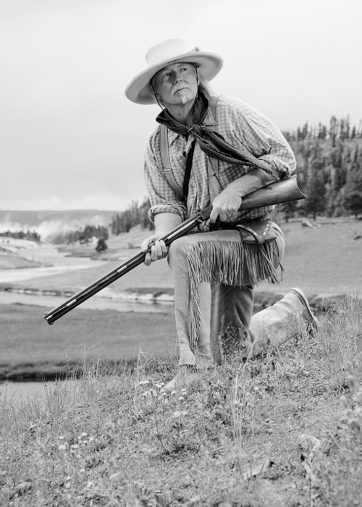 Bob in buckskins recreating the history of the West at Midway Geyser Basin, Yellowstone National Park.