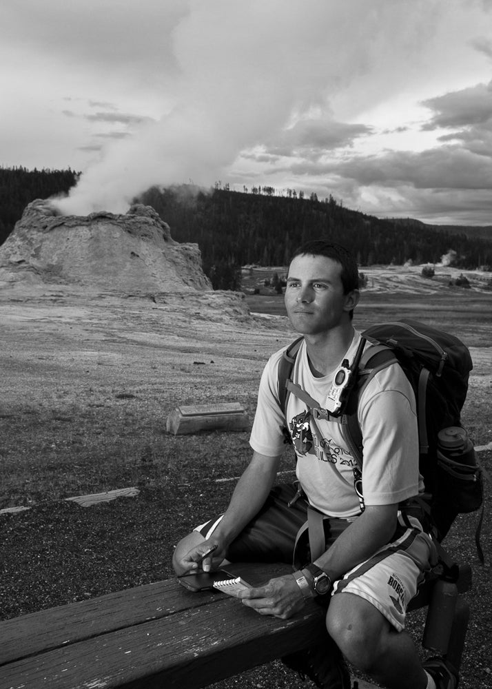 Will waiting for an eruption at Castle Geyser in Yellowstone National Park.
