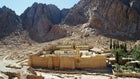 St. Catherine's Monastery and Mount Sinai in Egypt, as seen from the Sinai Trail.