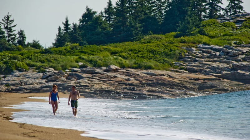 Walking along Maine's Reid Beach.