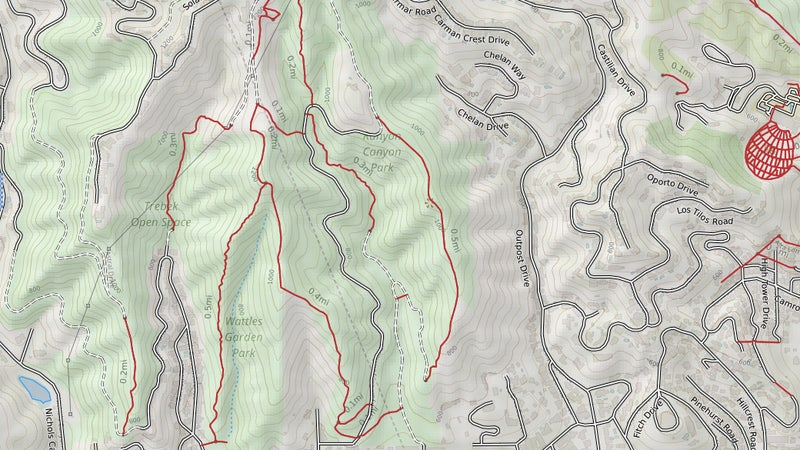 Now here's a simple hybrid map it took me 30 seconds to build in CalTopo. All of a sudden this is useful, right? To build it, I just clicked through the available topo map sources until I found the best one, then added in trails, and roads. Saving this as a geospatial PDF, then exporting that to my phone, gives me that same blue dot Google does, just here with real navigation data to compare it with.
