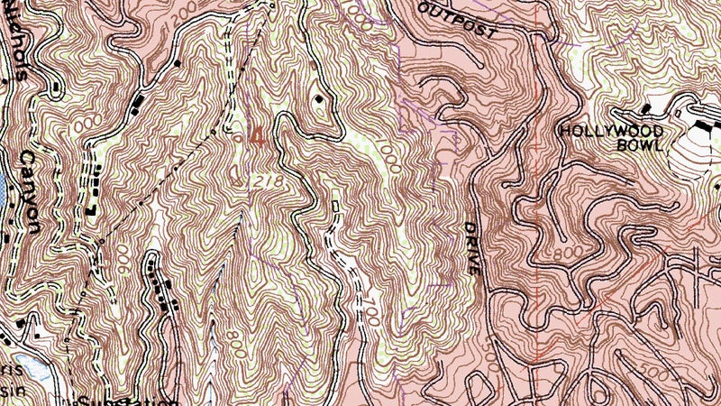 Now here's a standard USGS topo map of the park and its surrounding area. To put it frankly, this is a mess. Squint just right, and you can make out the hills and valleys, but it's so dense that it's terribly confusing, there's zero information on trails, and again this just isn't something you'd want to be stuck with in an emergency. And yet, this is what most topo maps we use for backcountry navigation look like.